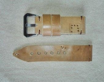 26/26 light brown leather watch bracelet - Handmade watch strap ammo pouch