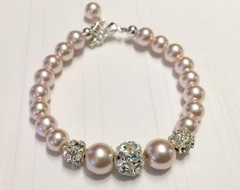 Pearl Bracelet, baby bracelet, baby pearl bracelet, baptism bracelet, christening bracelet, bridesmaid bracelet, flower girl bracelet