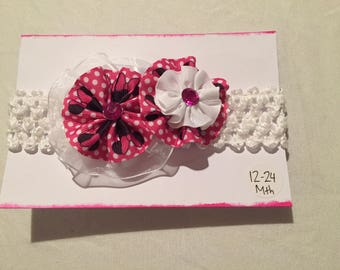 Handmade Baby Headband Minnie Mouse Flowers