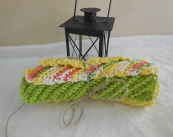 crochet dishcloths, crochet washcloths, cotton dishcloths, cotton washcloths, yellow washcloth, yellow dishcloth