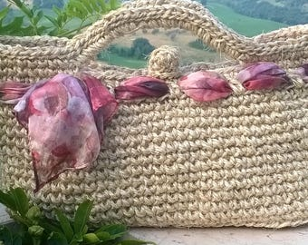 handmade crochet bag in natural cord