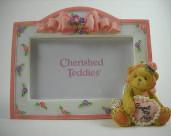 """Cherished Teddies - Girl Bear Picture Frame """"Forget Me Not"""" 2001 - #103938"""