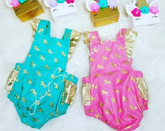 Unicorn Baby Romper, Pink and Gold Romper, Teal and Gold Romper, Gold Ruffle Romper