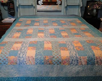 Handmade Adult Twin Quilt, Machine Quilted Throughout, Blanket, 100% Cotton, Aqua, Lavender, Yellow