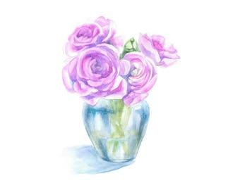 pink flowers bouquet watercolor, flowers bouquet watercolor, flowers bouquet painting, pink ranunculus, pink flowers watercolor painting