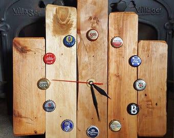Handmade Hardwood Reclaimed Timber Beer Bottle Top Clock