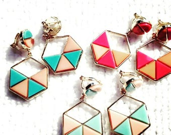 2017070#NIPPON COLLECTION_Geometery Colorful Candy Earrings