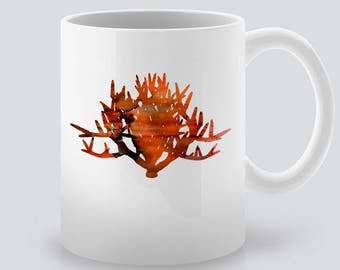 Fire Bush Print Art Ceramic Mug