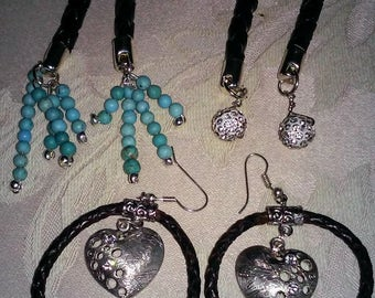 Leather & Sterling Silver Earrings