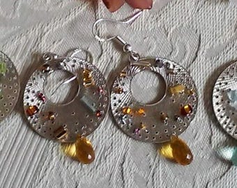Birthstone Sterling Silver Gemstone  Hand Beaded and Woven Earring's