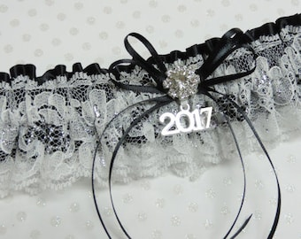 Black white prom garter,  Custom color prom garter,  Prom garters
