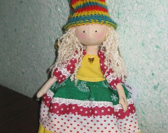 Doll handmade doll Lucy rag made of fabric interior doll doll for gift 12,2 inches