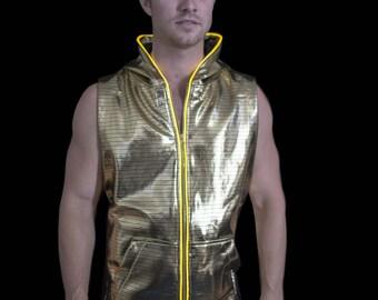 Light up electro cut off hoody, golden, XL
