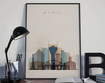 Nashville Art Nashville Watercolor Nashville Wall Art Nashville Wall Decor Nashville Skyline Nashville Home Decor Nashville Multicolor Print