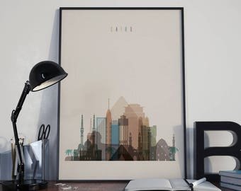 Cairo Art Cairo Watercolor Cairo Wall Art Cairo Wall Decor Cairo Skyline Cairo Home Decor Cairo Multicolor Cairo Poster Cairo Print Unframed