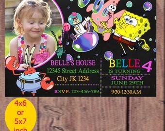 Sponge Bob Birthday Invitations