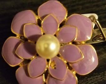Hand Made Purple Flower Brooch Badge Holder Swivel Back