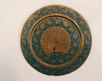 Vintage Brass Blue Peacock Plate, Wall Decor