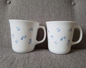 Corelle Coffee Mugs Blue Floral Print