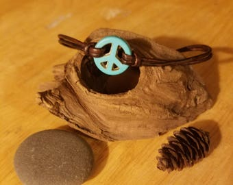 Peace turquoise leather charm
