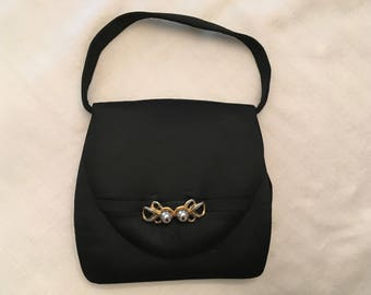 Black Satin Evening Bag Made in Spain