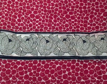1.5 Yards Red & Black Designer Chiffon Fabric Remnant | Anna Sui Abstract Print