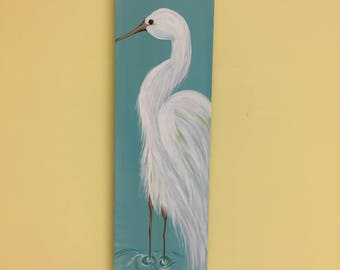Great Egret Hand Painted on Reclaimed Recycled Wood: Heron Bird Pallet Art Wall Art Signs