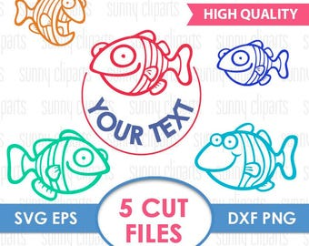 Fish Monogram Svg, Fish Svg File, Fish Clipart, Sea Life Svg, Monogram Font Svg, Svg File For Cricut, Silhouette Cameo Files, Cuttable Svg