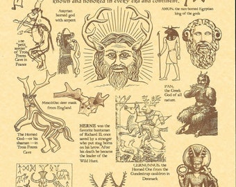 HORNED GOD Poster - Pagan, Druid, Alternative Religion - AUSTRALIA