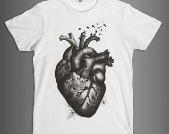 Planet (H) EARTH//T-Shirt man//DIMFC//100% cotton/white and black//illustration ink/watercolor//heart//press