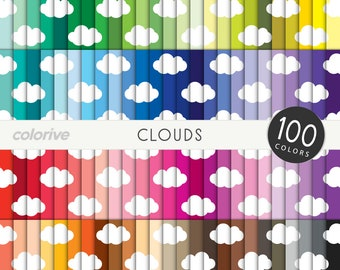 Clouds digital paper 100 rainbow colors cute cloudy sky baby background bright pastel printable scrapbooking paper