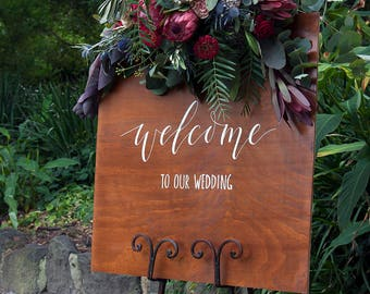 Wedding Welcome Sign. Rustic Wooden Welcome To Our Wedding. Garden Wedding Signage. Wedding Decoration. Vintage Ceremony Signs.
