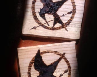 Rustic Woodburned Mockingjay Hunger Games Coasters (set of 2)