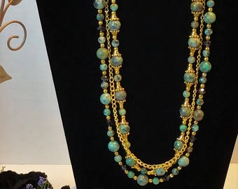 Handcrafted Artisian Necklace and Earring Set Egyptian Princess