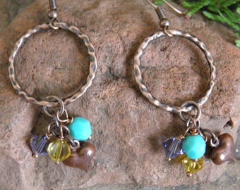 Boho Copper Earrings, Round Copper Hoops, Rings,Turquoise Glass Bead,Copper Heart Charm,Tanzonite Purple Bicone,Amber Bicone,E033,*FREE SHIP