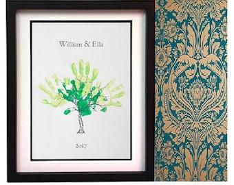 A3 Beautiful framed personalised handprint tree.