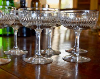 A set of Six Crystal Champagne Coupes probably French c.1910-1930