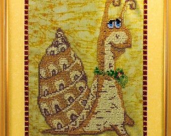 Beaded picture Funny Snail kids children room decor gift beadwork embroidery bead-embroidered bead art interior design decoration