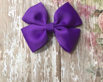 """Purple 4"""" Hairbow with clip!"""