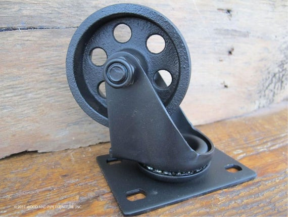 Industri le metalen wielen wielen staal kar vintage set - Roulette industrielle pour meuble ...