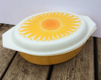 Pyrex Sunflower Oval Casserole Dish Pyrex Covered Serving Dish 1970s Cookware