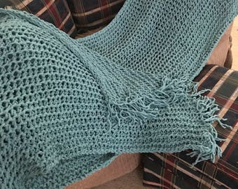 deep aqua throw- hand knitted