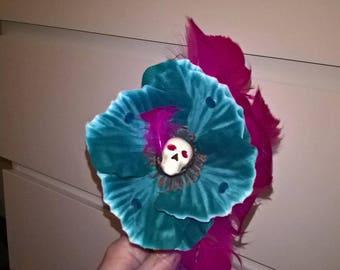 Blue and purple skull headband.