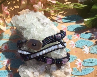 Amethyst and Blue Lace Agate Wrap Bracelet