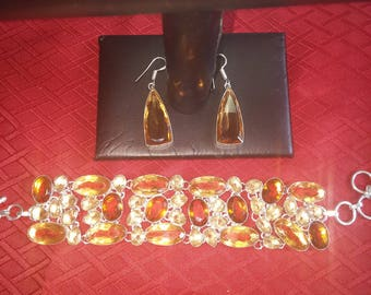 SALE Citrine Bracelet and Earrings Set, Free Shipping.