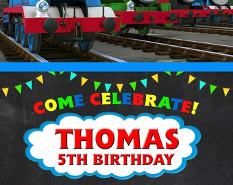 GCDigital : Thomas The Train Chalkboard Design Digital Birthday Invitation
