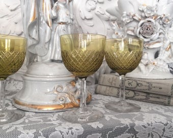Vintage Crystal glasses for white wine / vintage glasses for white wine