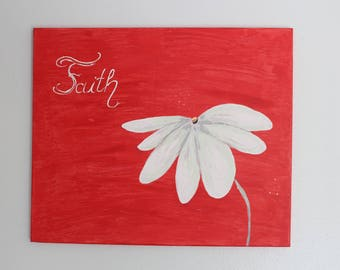 white daisy on red canvas, simple and bold