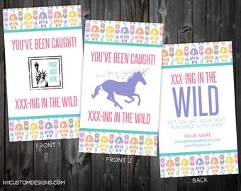 Set of 2 Double Sided You've Been Caught in The Wild Cards   Dreamcatcher Design   Standard Size 3.5 x 2   Personalized