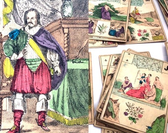 c.1875 Fortune Telling Cards J. Gaudais Lenormand 54 Cards Grand Jeu Astrology Antique